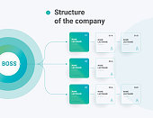 Structure of the company. Business hierarchy organogram chart infographics. Corporate organizational structure graphic elements.