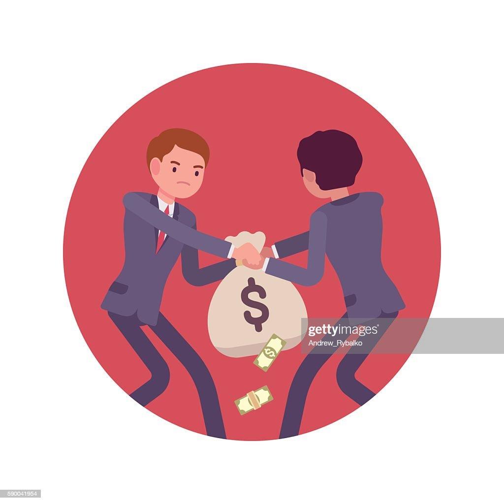 Struggle between businessmen for a sack of money