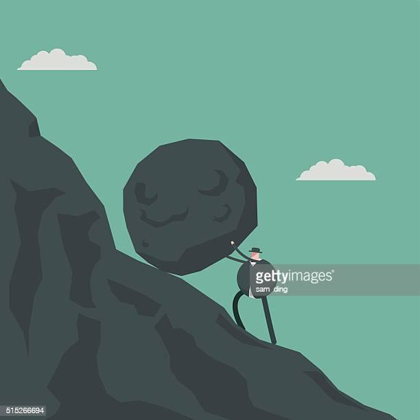 struggle - boulder rock stock illustrations, clip art, cartoons, & icons