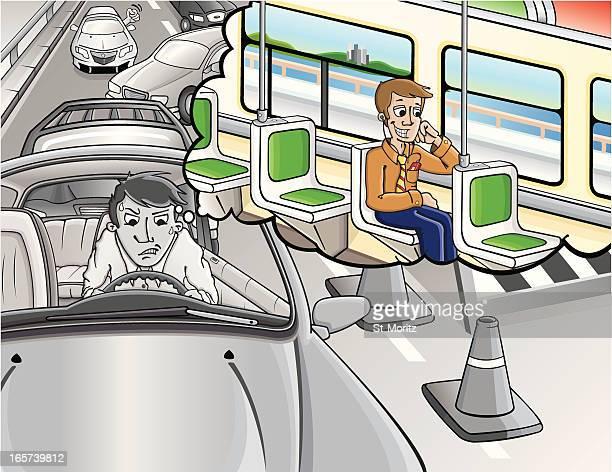 illustrations, cliparts, dessins animés et icônes de bloqué dans la circulation/transports publics - impatient