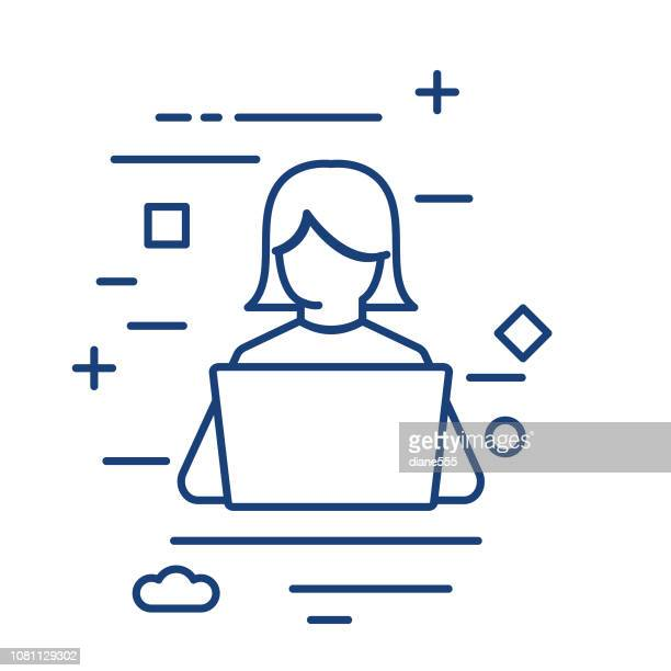 student and computer  thin line education icon - using laptop stock illustrations