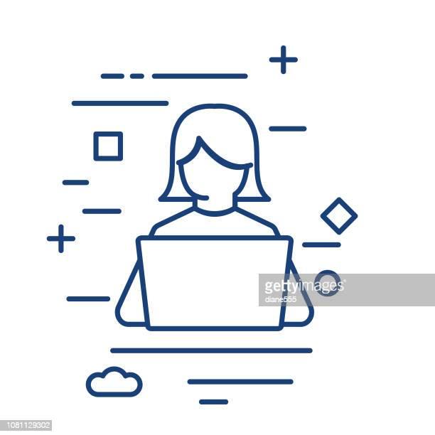 student und computer dünne linie bildung symbol - laptop benutzen stock-grafiken, -clipart, -cartoons und -symbole
