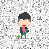 Student boy idea on school and education background, drawing by hand vector