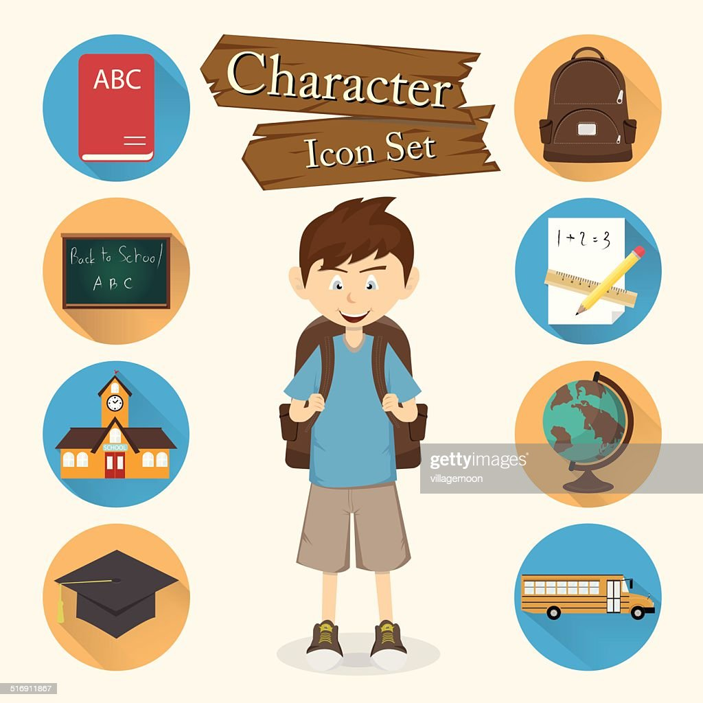 Student character Icon set vector