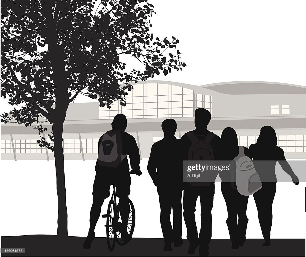Student Crowd Vector Silhouette : stock illustration