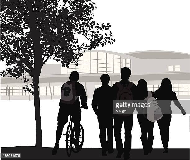 student crowd vector silhouette - high school student stock illustrations, clip art, cartoons, & icons