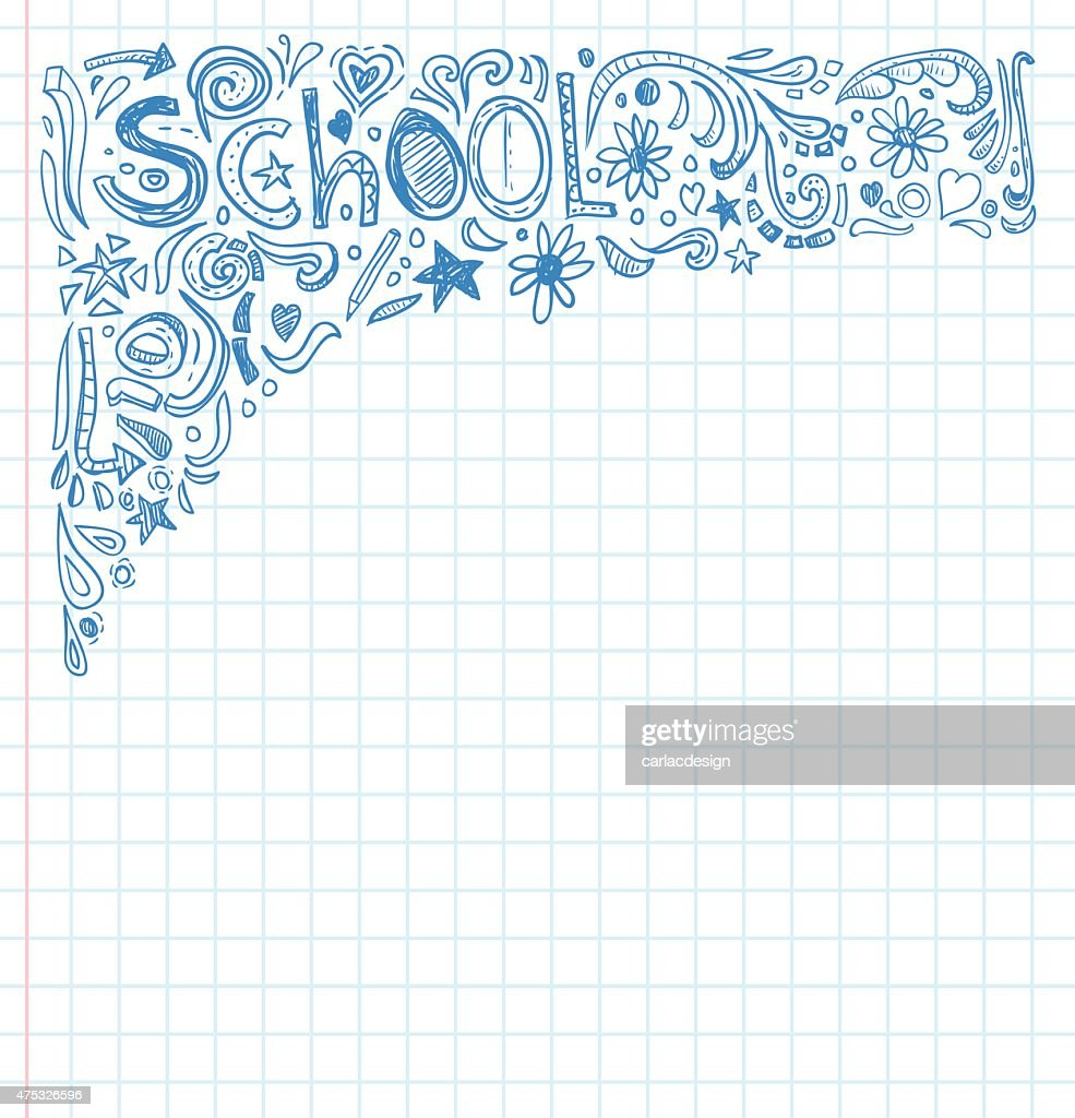 Student Doodle on paper, Back to School Sketchbook Illustration.