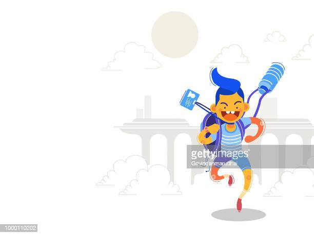 student going home from school - school uniform stock illustrations, clip art, cartoons, & icons