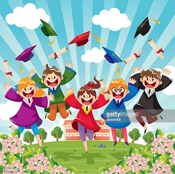 student graduation - high jump stock illustrations