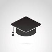 Student hat, education icon on white background.