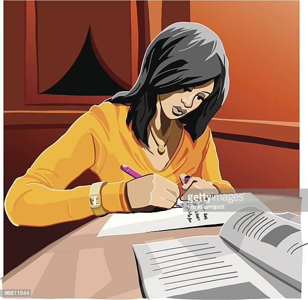 student homework - one teenage girl only stock illustrations