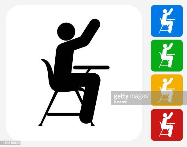 Student Raising Hand Icon Flat Graphic Design