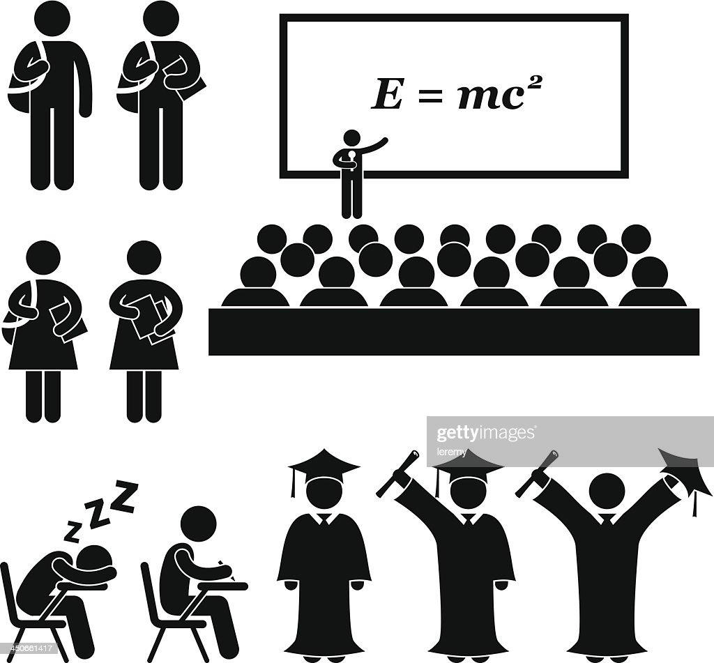 Student School College University Stick Figure Pictogram