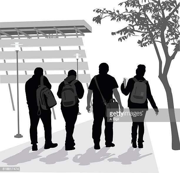 ilustrações de stock, clip art, desenhos animados e ícones de silhuetas dos alunos no campus - patio de colegio