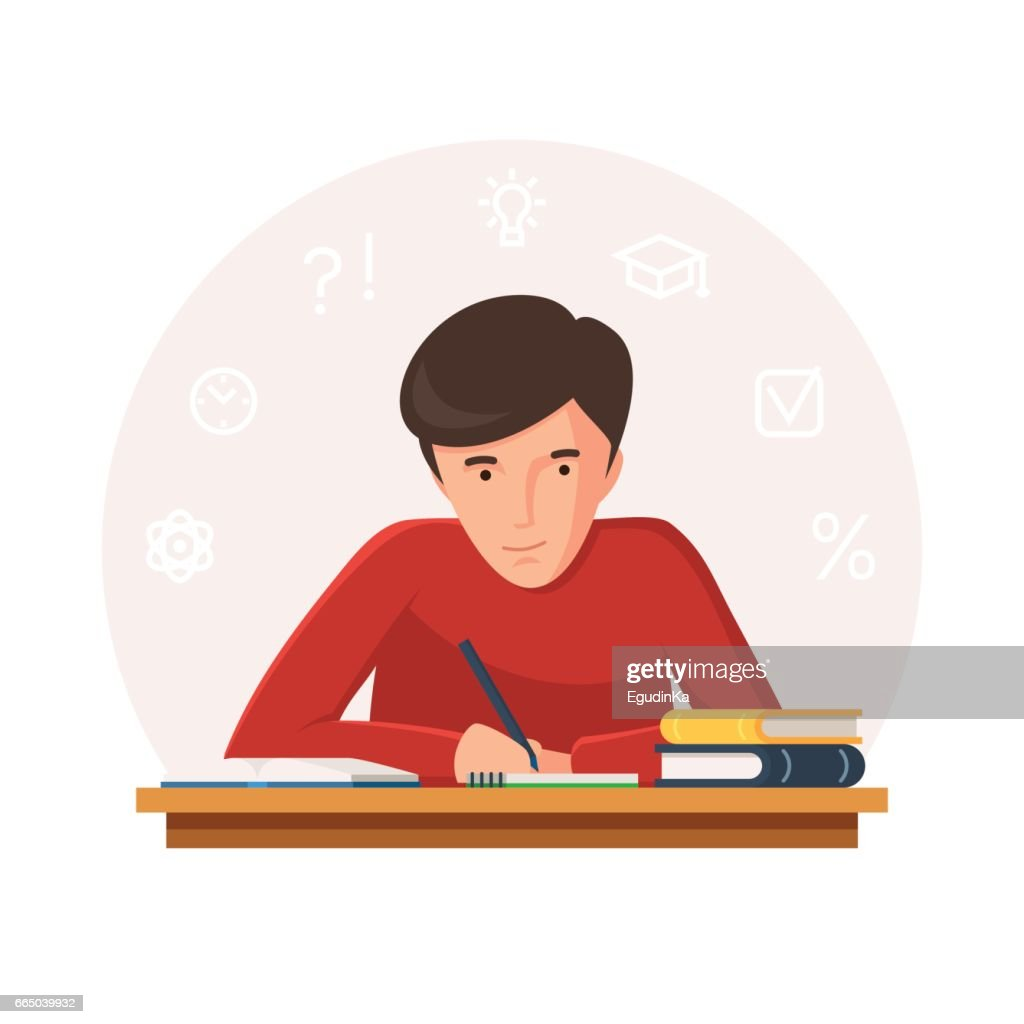 Student sitting at table