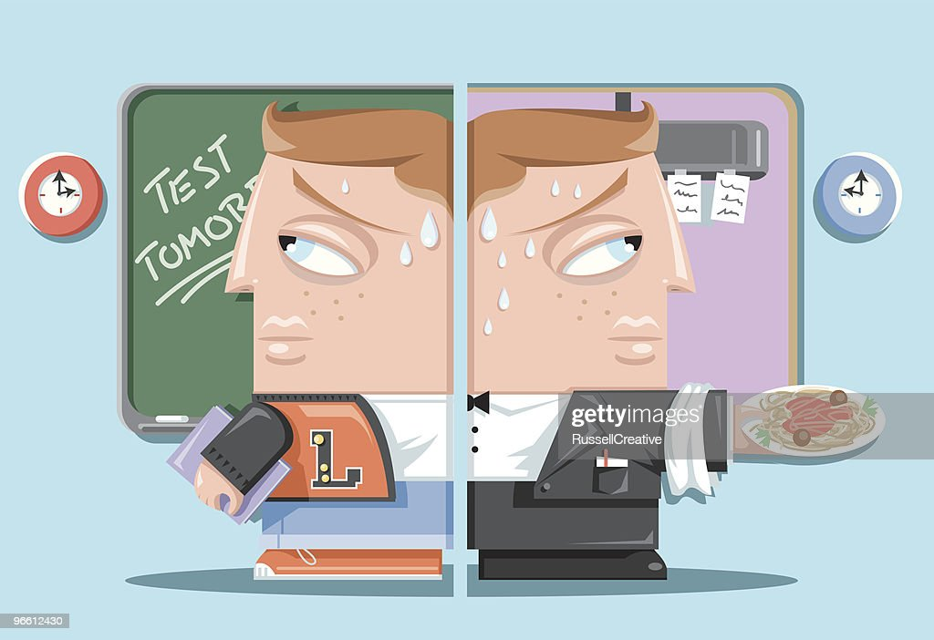 Student splitting his time with school and work : stock illustration