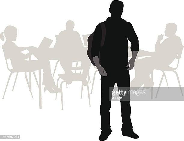 student standing - high school student stock illustrations, clip art, cartoons, & icons