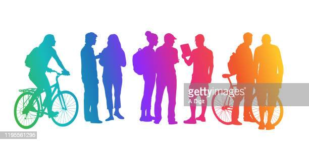 student transportation rainbow - teenagers only stock illustrations