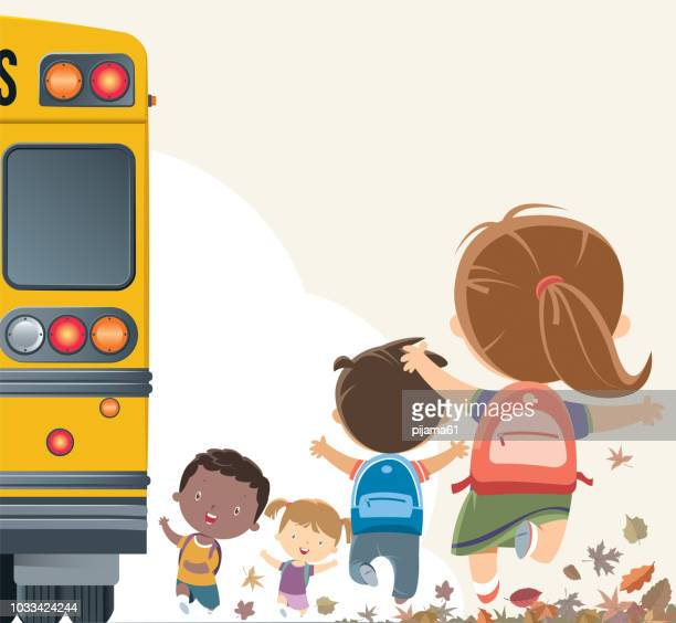 students going to school by bus - public transportation stock illustrations