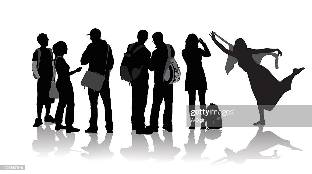 Students Group In Silhouette