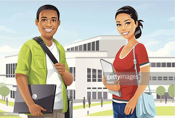 students on campus - students stock illustrations, clip art, cartoons, & icons