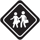 Students on the road traffic signal icon