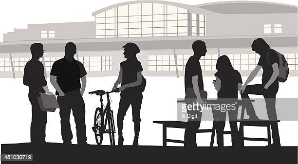students outside - high school student stock illustrations, clip art, cartoons, & icons