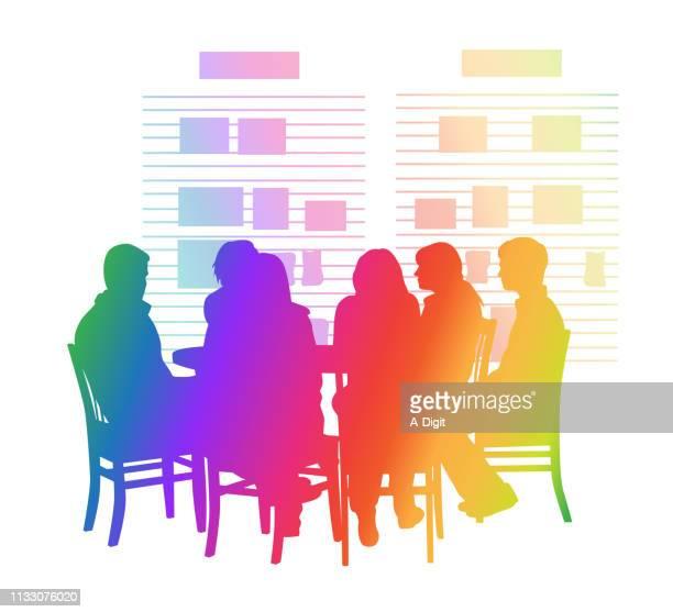 schüler round table regenbogen - farbsättigung stock-grafiken, -clipart, -cartoons und -symbole