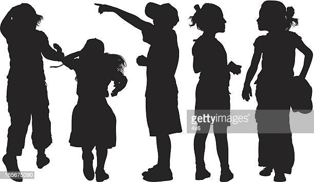 students standing together - school uniform stock illustrations, clip art, cartoons, & icons