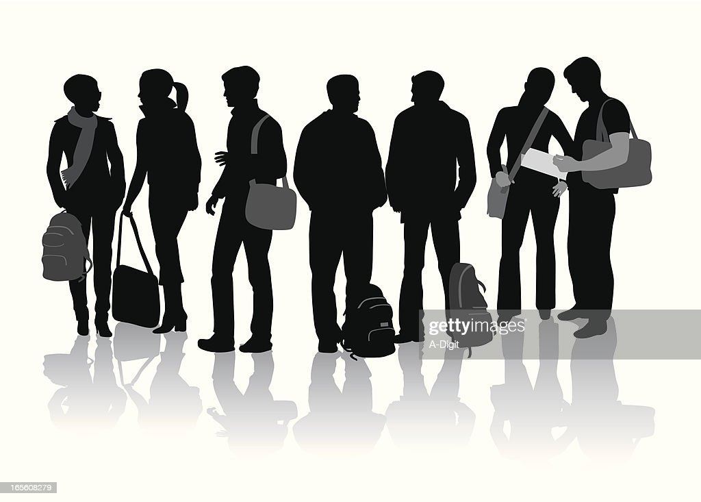 Students Vector Silhouette
