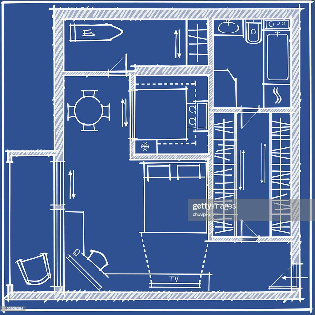 Studio Apartment Plan Blueprint Stock Vector