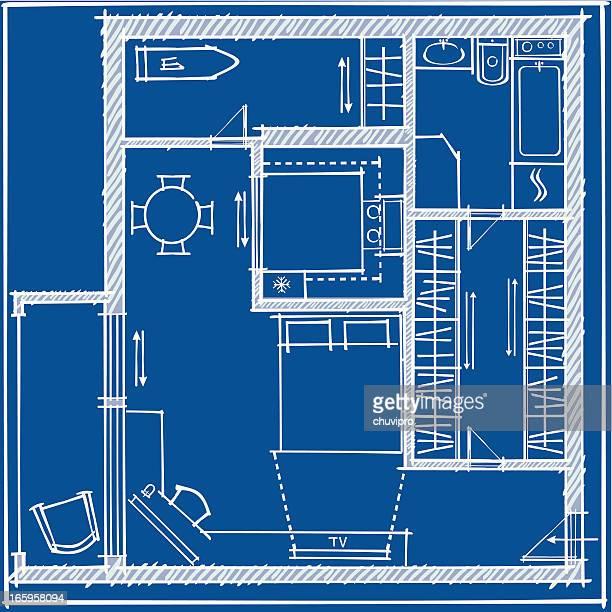 Studio Apartment plan Blueprint
