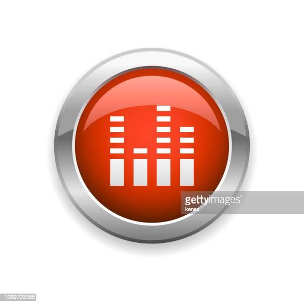 illustrazioni stock, clip art, cartoni animati e icone di tendenza di studio sound mixer glossy icon - gol di pareggio