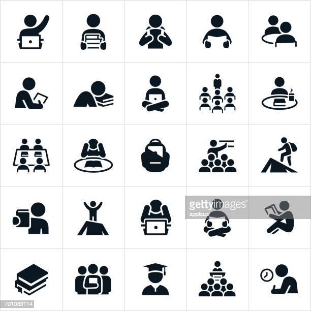 study and learning icons - showing stock illustrations