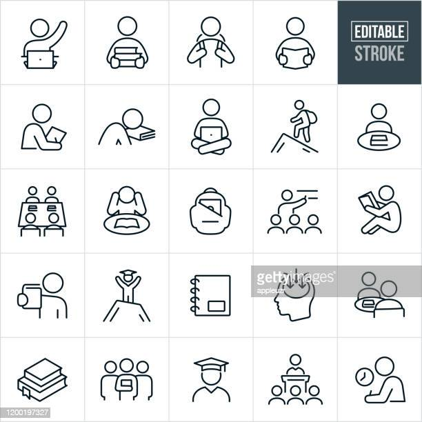 study and learning thin line icons - editable stroke - instructor stock illustrations