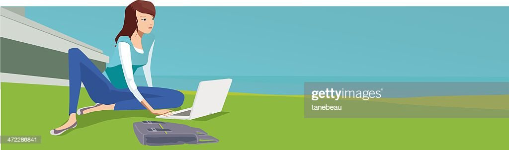 Studying at campus : stock illustration