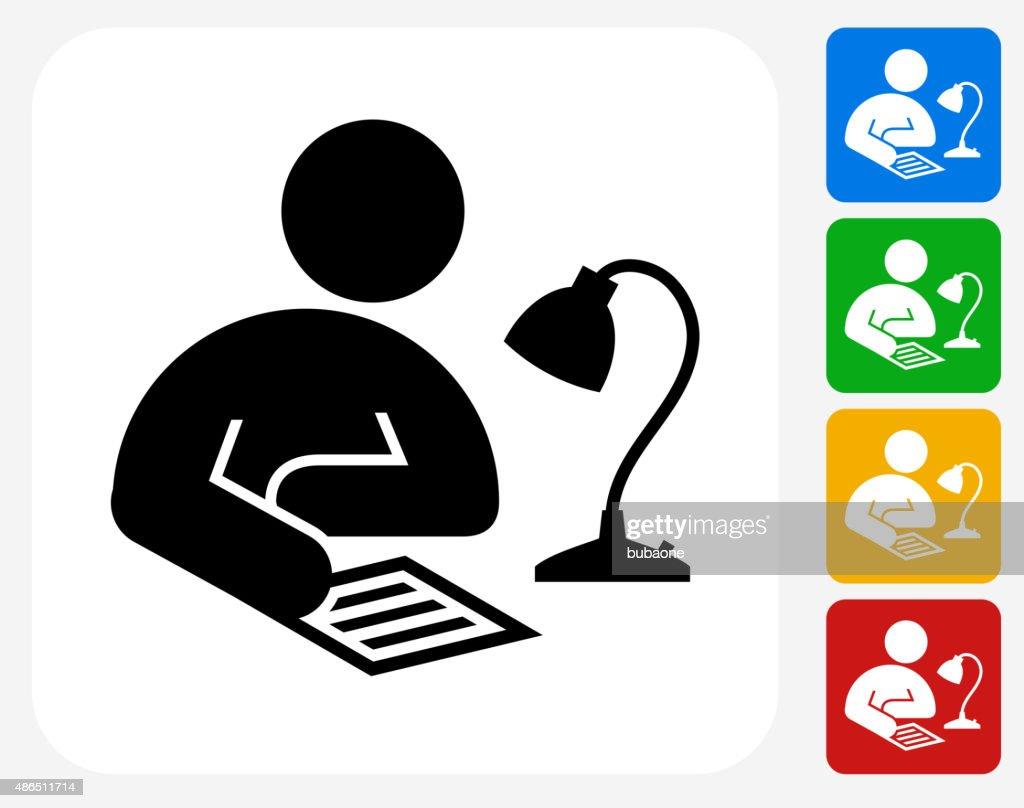 Studying Icon Flat Graphic Design : stock illustration