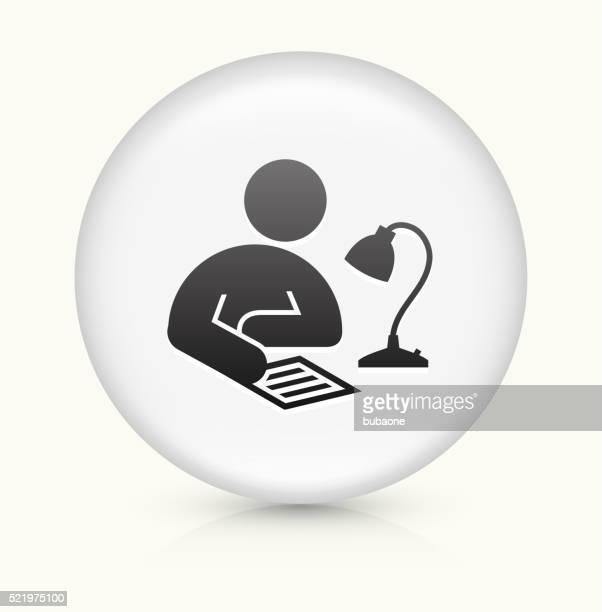 Akademisches Lernen Symbol auf weißer Runder Vektor Knopf