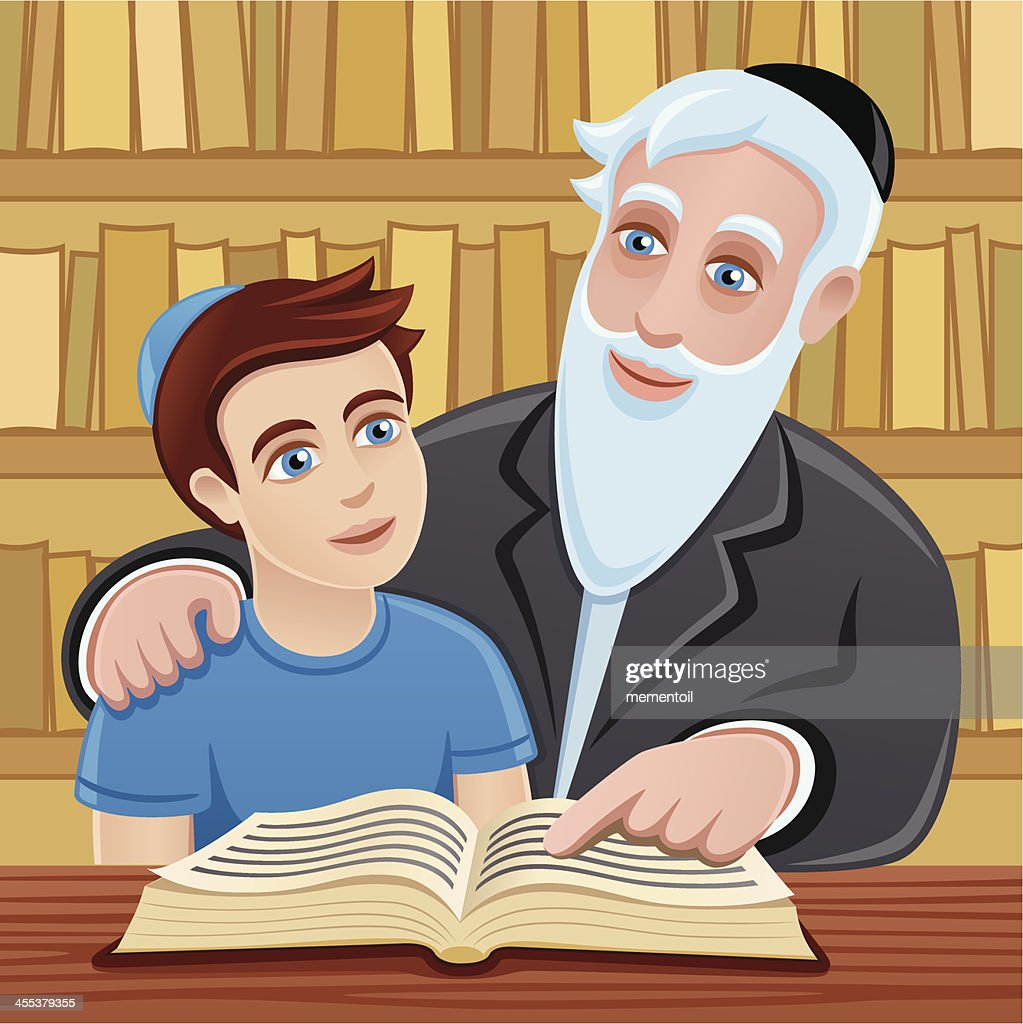 Studying The Torah With Grandfather Vector Art