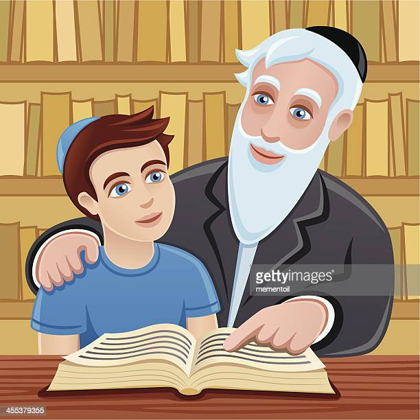 studying the torah with grandfather - passover stock illustrations