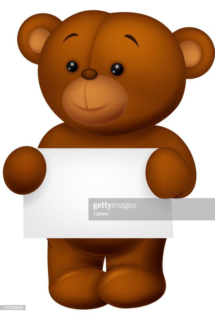 Stuffed bear holding blank paper