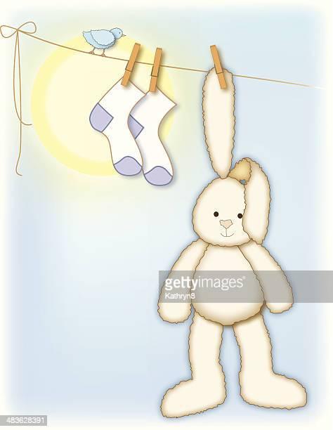 Stuffed Bunny on the Clothesline
