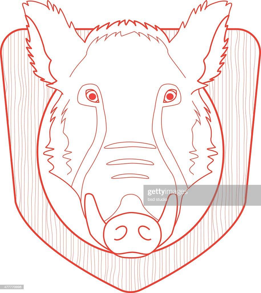 Stuffed taxidermy wild boar head. Line-art