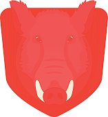 Stuffed taxidermy wild boar head