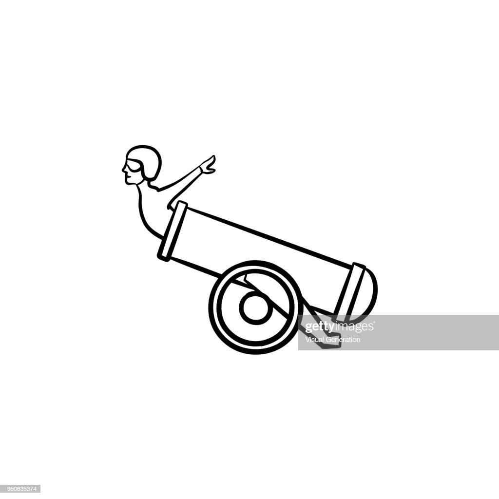 Stuntman in the cannon hand drawn sketch icon