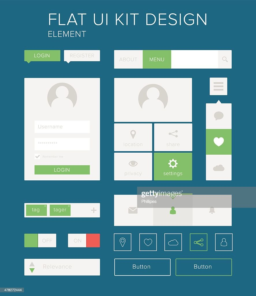 Style flat design ui kit elements