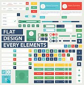 Style flat ui kit design elements for web design