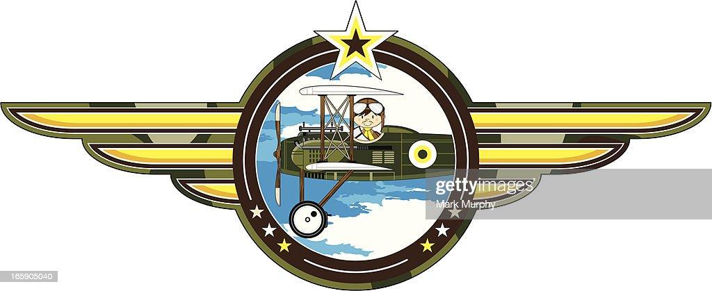 WW1 Style Military Biplane & Pilot Badge