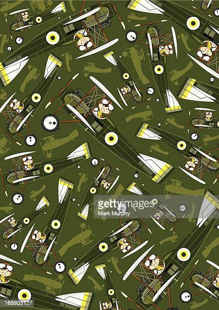 ww1 style military biplane & pilot pattern - helmet visor stock illustrations, clip art, cartoons, & icons