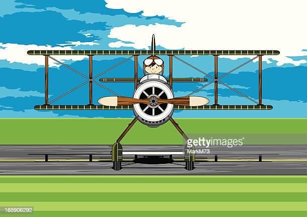 ww1 style military biplane & pilot scene - helmet visor stock illustrations, clip art, cartoons, & icons